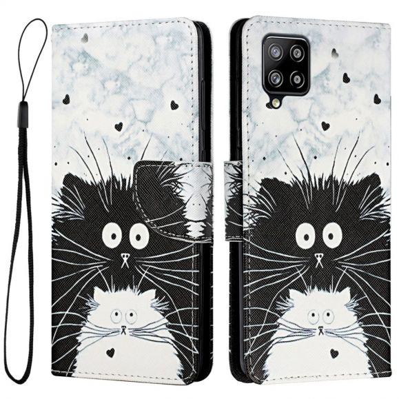 Housse Samsung Galaxy A22 4G chats noir et blanc