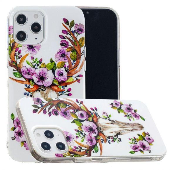 Coque iPhone 12 Pro Max Luminous Cerf et fleurs