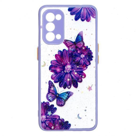 Coque Oppo Find X3 Lite fleurs et papillons violets