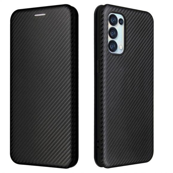 Housse Oppo Find X3 Lite simili cuir style fibre de carbone