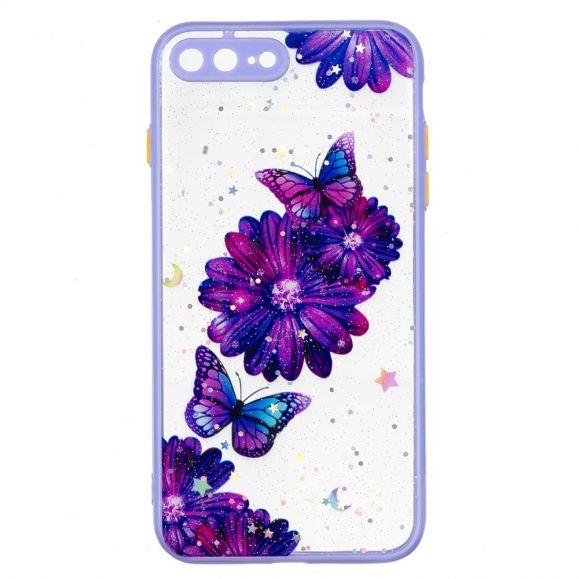 Coque iPhone 8 Plus / 7 Plus fleurs et papillons violets