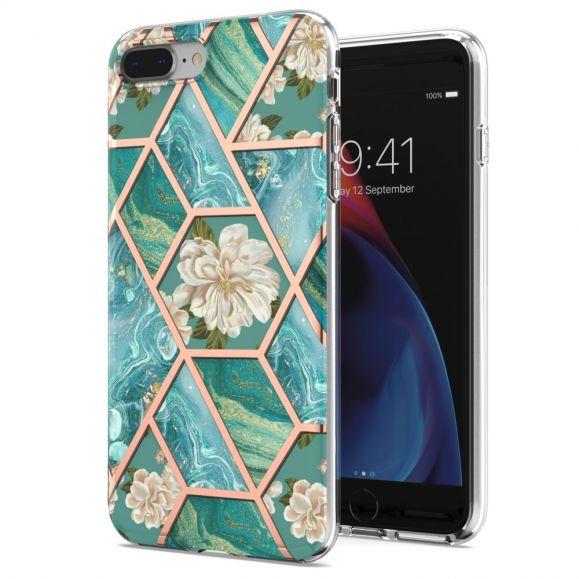 Coque iPhone 8 Plus / 7 Plus marbre et fleurs blanches