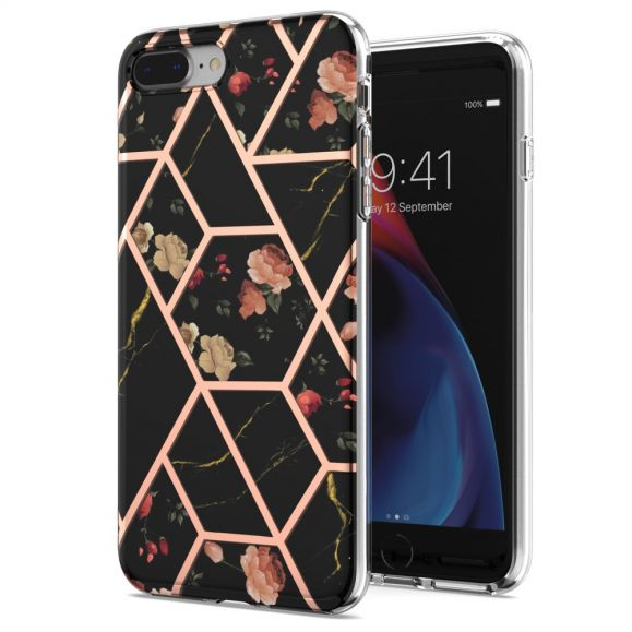 Coque iPhone 8 Plus / 7 Plus marbre et fleurs