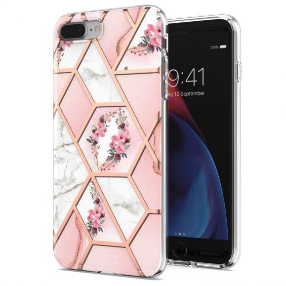 Coque iPhone 8 Plus / 7 Plus marbre et couronne de fleurs
