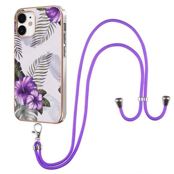 Coque iPhone 12 mini fleurs exotiques à cordon