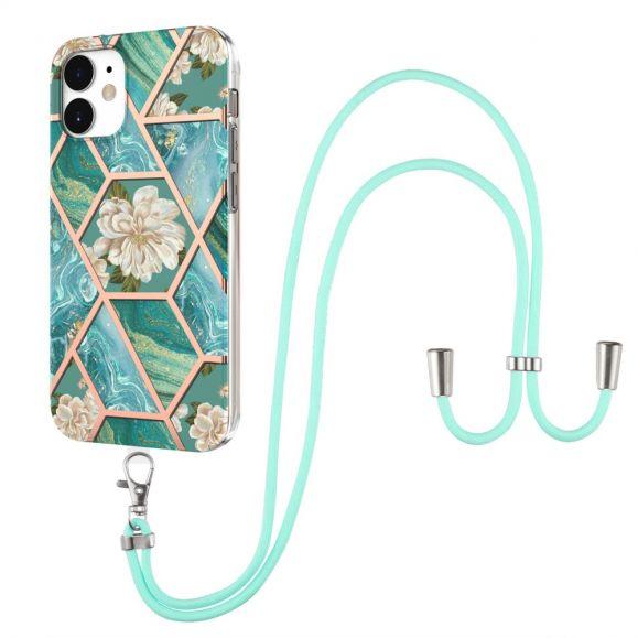 Coque iPhone 12 mini marbre et fleurs blanches à cordon