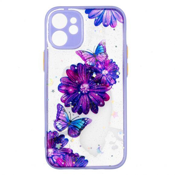 Coque iPhone 12 mini fleurs et papillons violets