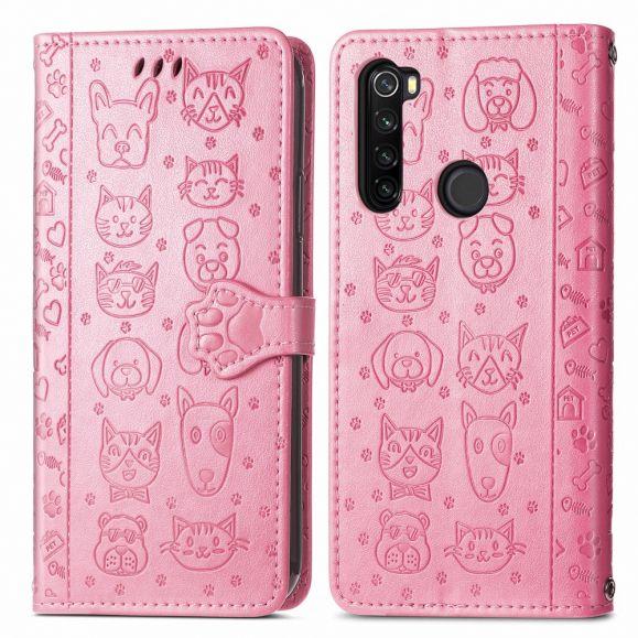 Housse Xiaomi Redmi Note 8T effet cuir animaux en relief