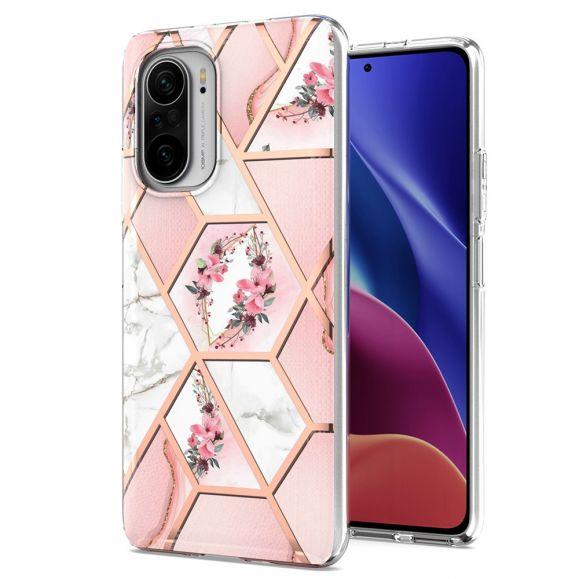 Coque Poco F3 / Xiaomi Mi 11i 5G marbre et couronne de fleurs