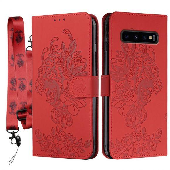 Housse Samsung Galaxy S10 Plus Design Tigre + Sangle