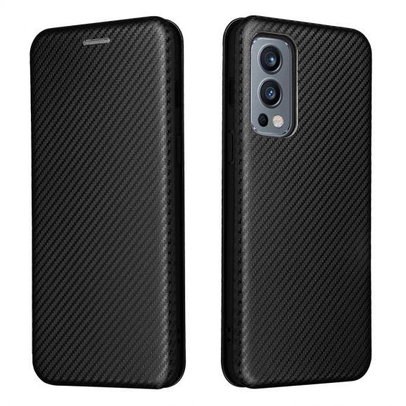 Housse OnePlus Nord 2 5G simili cuir style fibre de carbone