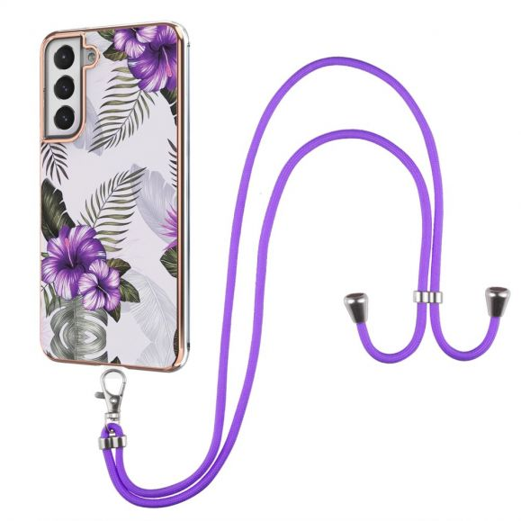 Coque Samsung Galaxy S21 FE fleurs exotiques à cordon