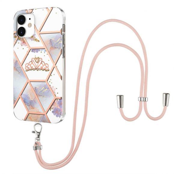 Coque iPhone 12 / 12 Pro marbre et couronne à cordon