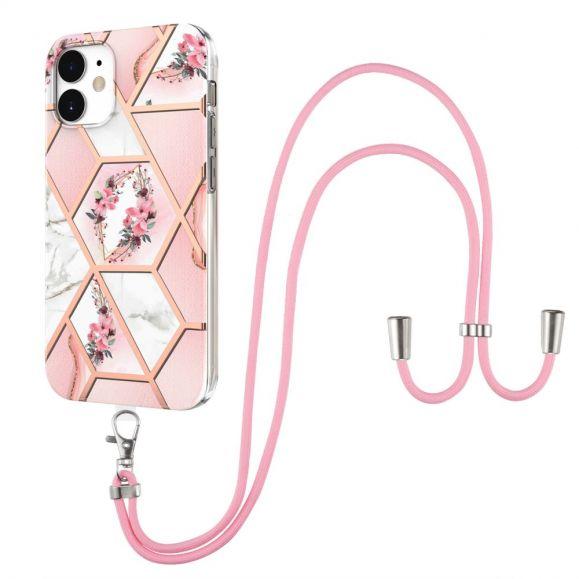 Coque iPhone 12 / 12 Pro marbre et couronne de fleurs à cordon