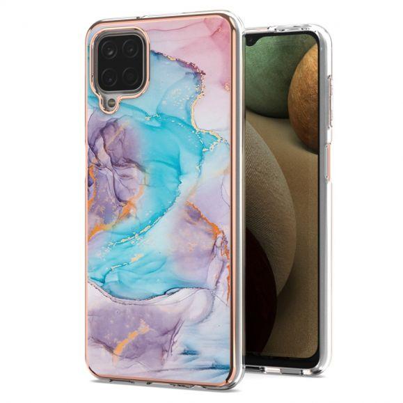 Coque Samsung Galaxy A12 / M12 marbre coloré bleu