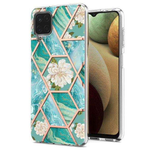 Coque Samsung Galaxy A12 / M12 marbre et fleurs blanches