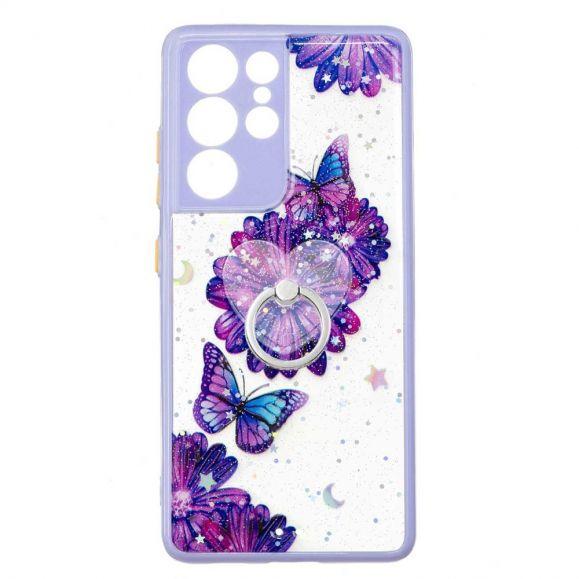 Coque Samsung Galaxy S21 Ultra 5G fleurs et papillons violets avec anneau