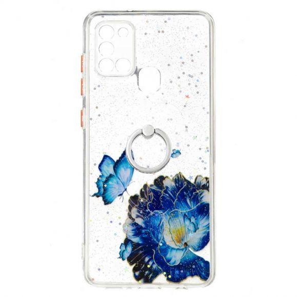 Coque Samsung Galaxy A21s fleurs et papillons bleus avec anneau
