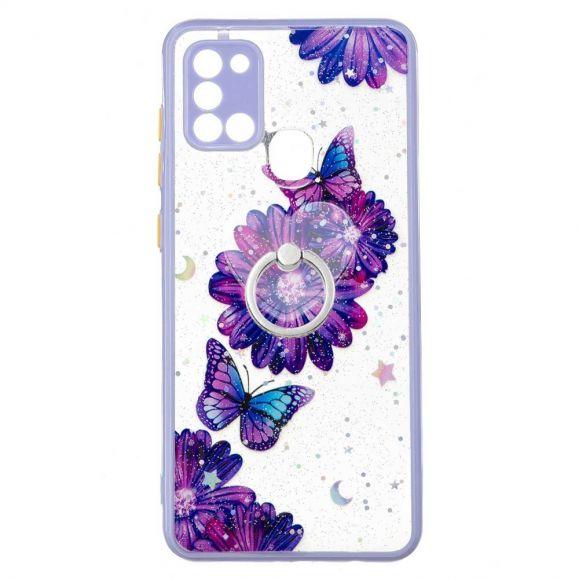 Coque Samsung Galaxy A21s fleurs et papillons violets avec anneau