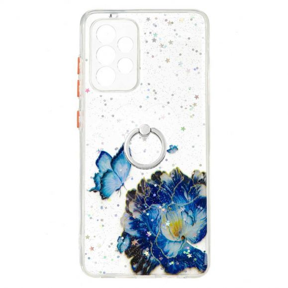 Coque Samsung Galaxy A52s 5G / A52 5G / 4G fleurs et papillons bleus avec anneau
