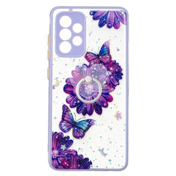 Coque Samsung Galaxy A52s 5G / A52 5G / 4G fleurs et papillons violets avec anneau