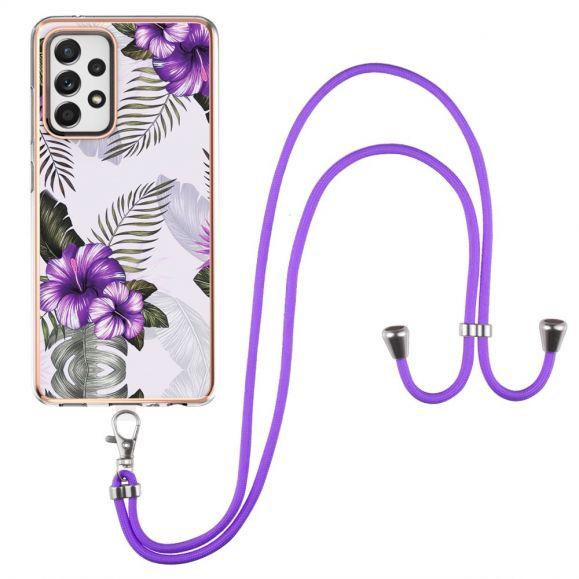 Coque Samsung Galaxy A52 4G / 5G / A52s 5G fleurs exotiques à cordon