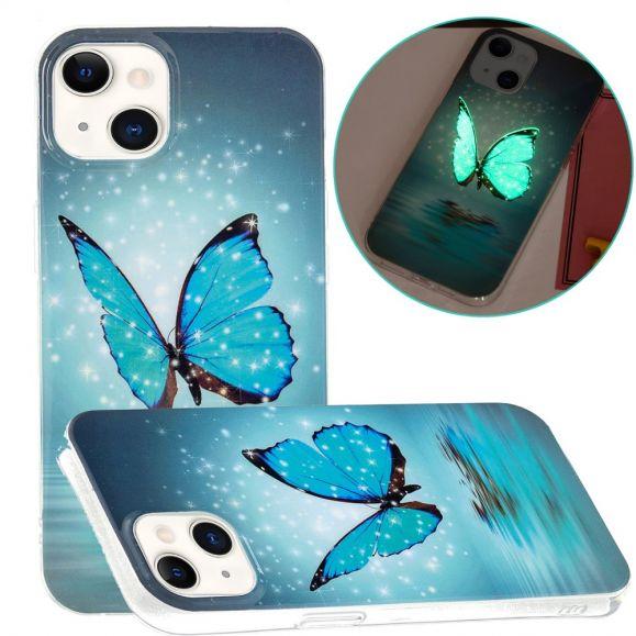 Coque iPhone 13 Fluorescente papillon bleu