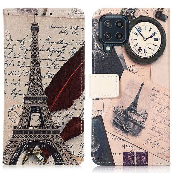 Housse Samsung Galaxy M32 Tour Eiffel et lettre