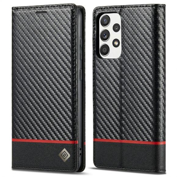 Housse Samsung Galaxy A52, A52 5G et A52s effet cuir fibre de carbone