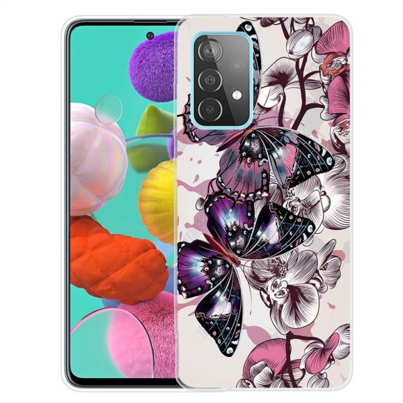 Coque Samsung Galaxy A52, A52 5G et A52s 5G Papillons et fleurs