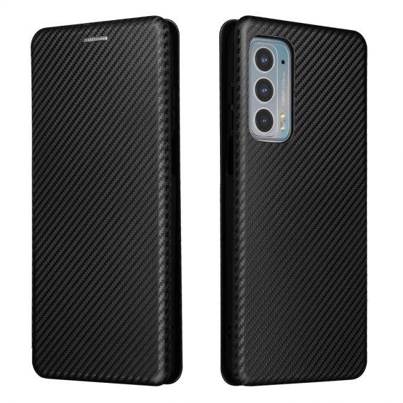 Housse Motorola Edge 20 simili cuir fibre de carbone