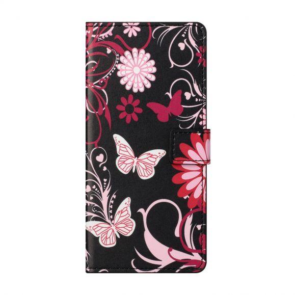 Housse Motorola Edge 20 papillons et fleurs