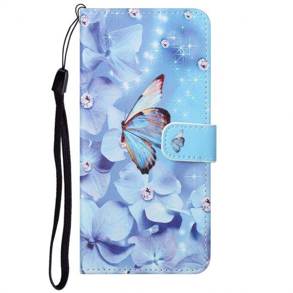 Housse Motorola Edge 20 Papillon et fleurs bleues