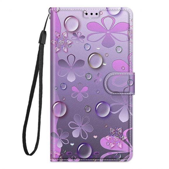Housse Samsung Galaxy A52s 5G, A52 5G et A52 4G Illustration fleurs violettes