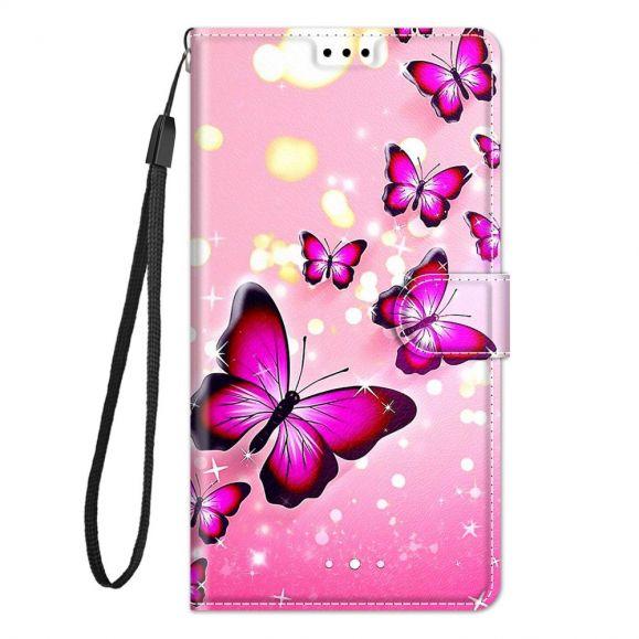 Housse Samsung Galaxy A52, A52 5G et A52s 5G Papillons roses