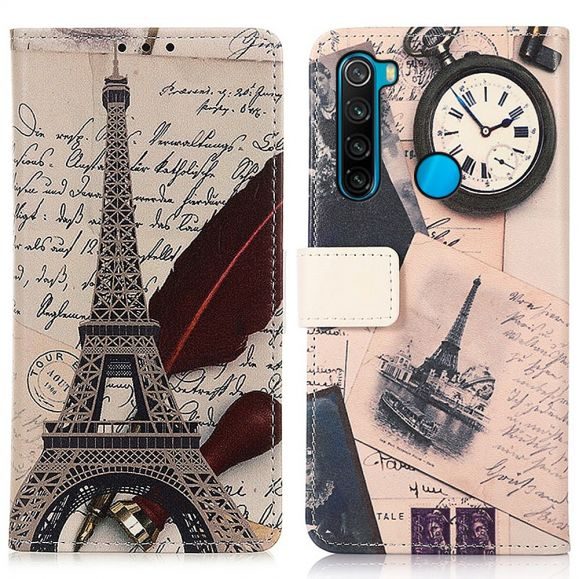 Housse Xiaomi Redmi Note 8 2021 / 2019 Tour Eiffel et lettre