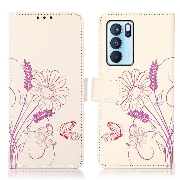 Housse Oppo Reno 6 Pro 5G Illustration Fleurs et Papillon
