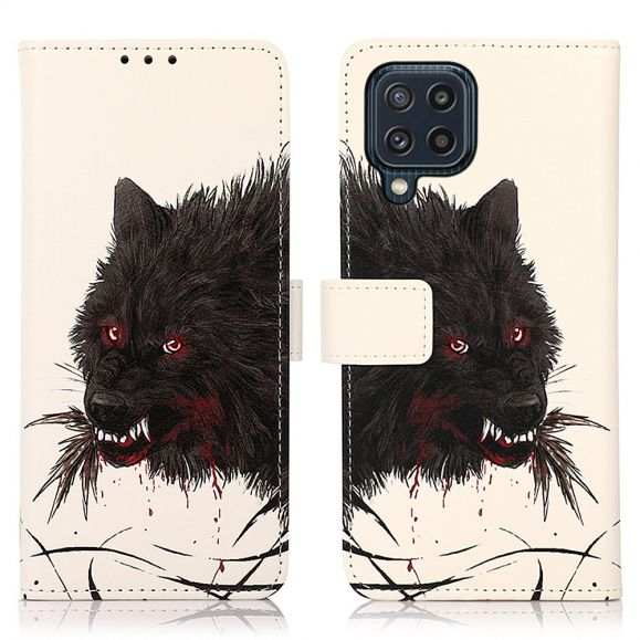 Housse Samsung Galaxy M32 Loup féroce noir