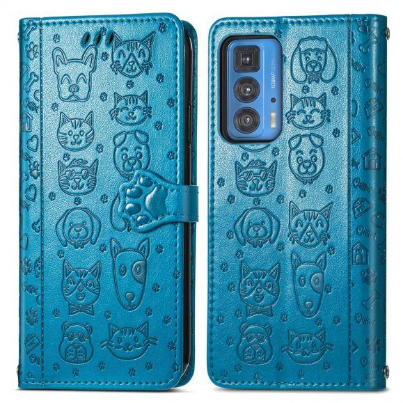 Housse Motorola Edge 20 Pro effet cuir animaux en relief