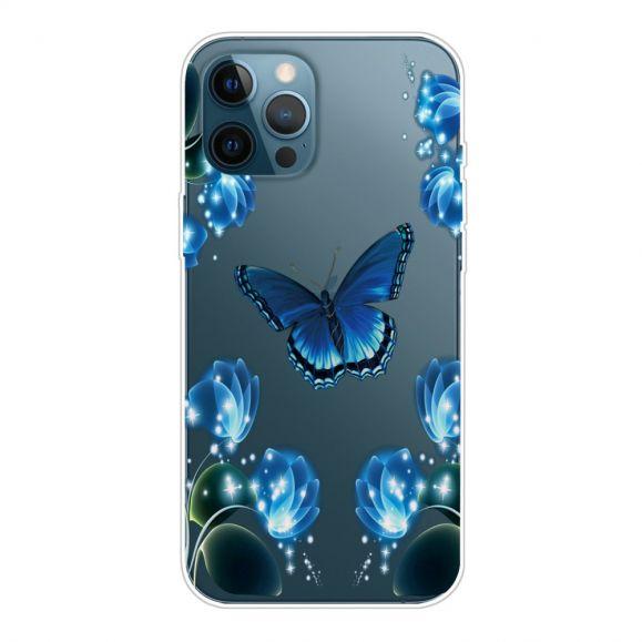 Coque iPhone 13 Pro Max Papillon Bleu