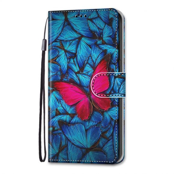 Housse iPhone 13 Pro Max Papillons bleus et rose