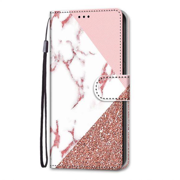 Housse iPhone 13 Pro marbre paillettes