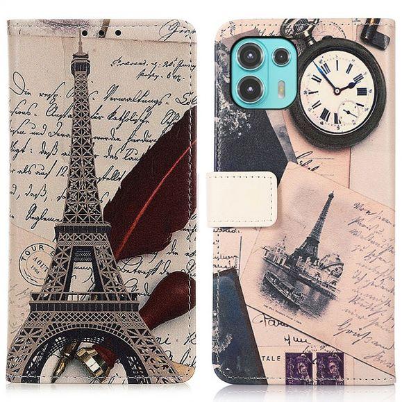 Housse Motorola Edge 20 Lite Tour Eiffel et lettre