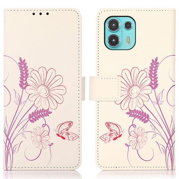 Housse Motorola Edge 20 Lite Illustration Fleurs et Papillon