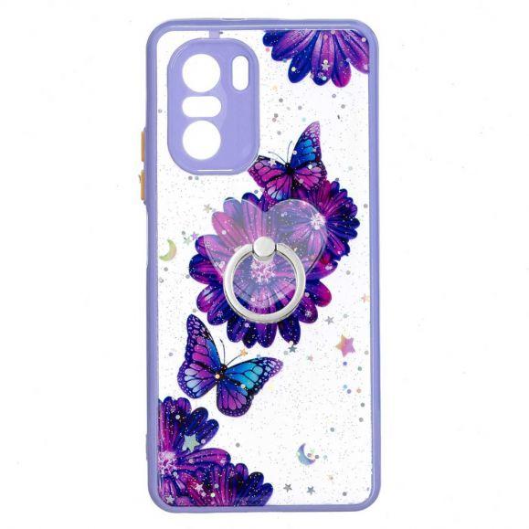 Coque Xiaomi Mi 11i 5G / Poco F3 fleurs et papillons violets avec anneau