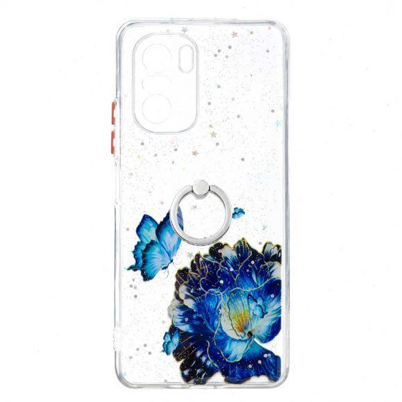 Coque Xiaomi Mi 11i 5G / Poco F3 fleurs et papillons bleus avec anneau