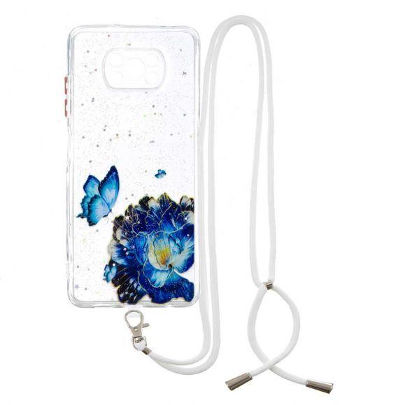 Coque Xiaomi Poco X3, X3 NFC, X3 Pro à cordon fleurs et papillons bleus