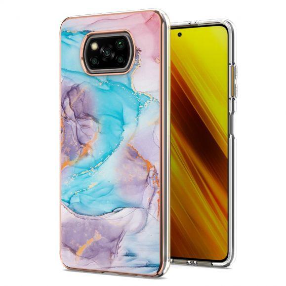 Coque Xiaomi Poco X3, X3 NFC, X3 Pro marbre coloré bleu