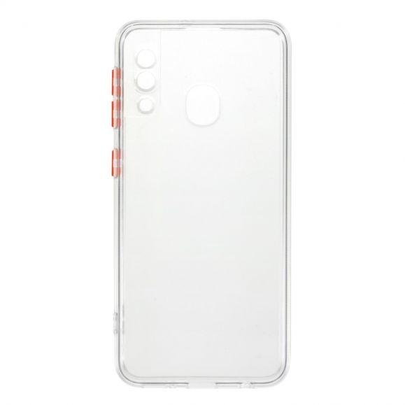 Coque Samsung Galaxy A20e transparente avec boutons rouges