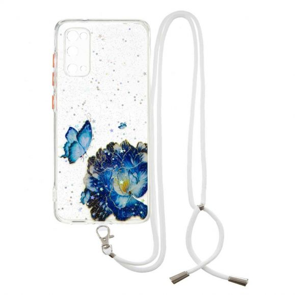 Coque Samsung Galaxy S20 FE à cordon fleurs et papillons bleus